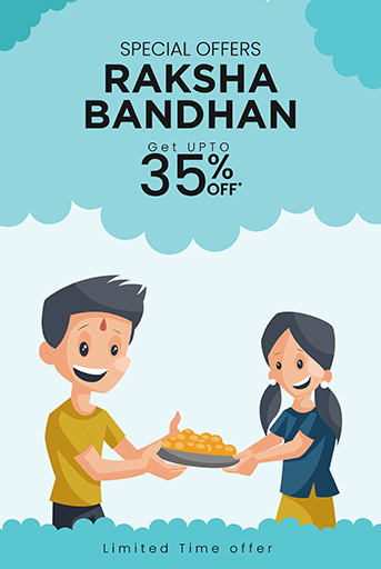 Happy Raksha Bandhan Sale Offer Banner Template With Brother and Sister holding sweets plate in hands Vector illustration