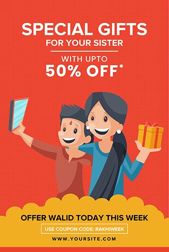 Happy Raksha Bandhan Sale Offer Banner Template With Brother and Sister Clicking Selfie on  The Raksha Bandhan Festival Vector Illustration