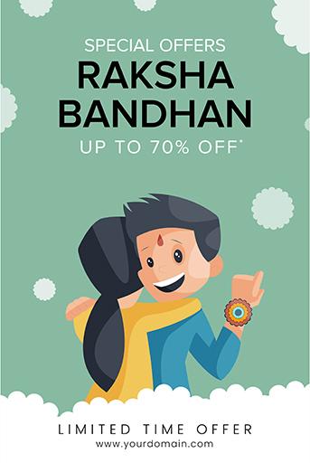 Happy Raksha Bandhan Sale Offer Banner Template With Brother and sister hugging each other on The Raksha Bandhan Festival Vector Illustration