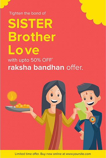 Happy Raksha Bandhan Sale Offer Banner Template With Brother giving gift to his sister on Raksha Bandhan Festival Vector Illustration