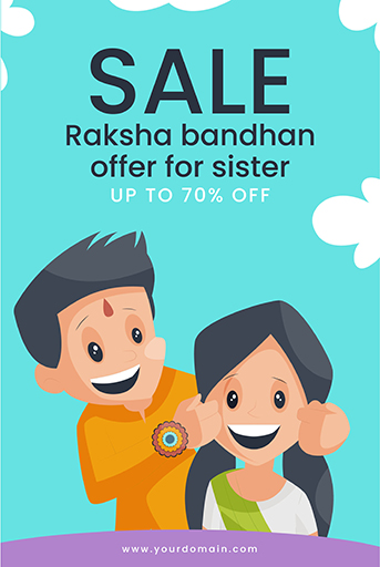 Happy Raksha Bandhan Sale Offer Banner Template With Brother is pulling his sister's cheek Vector Illustration