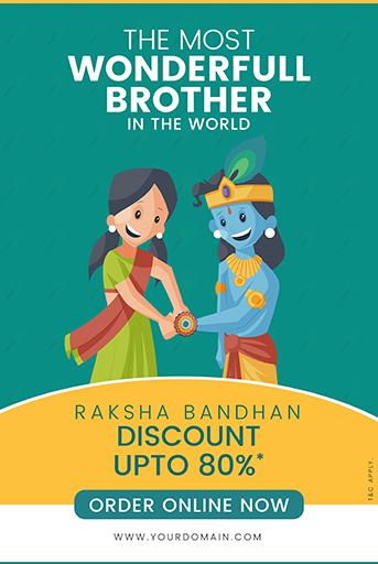 Happy Raksha Bandhan Sale Offer Banner Template With Girl tying rakhi to Lord Krishna and celebrating the Raksha Bandhan Festival Vector Illustration
