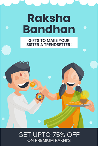 Happy Raksha Bandhan Sale Offer Banner Template With Sister is eating sweets to her brotherVector Illustration