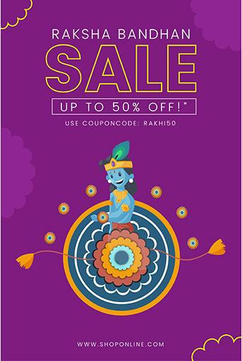 Happy Raksha Bandhan Sale Offer Banner Template With Vector Illustration