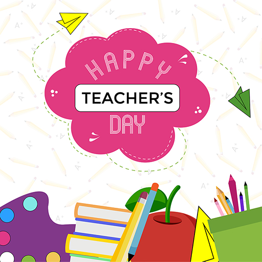 Happy Teacher's Day banner design on a white background template