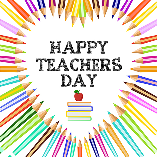 Happy Teacher's Day banner design template with colorful pencils