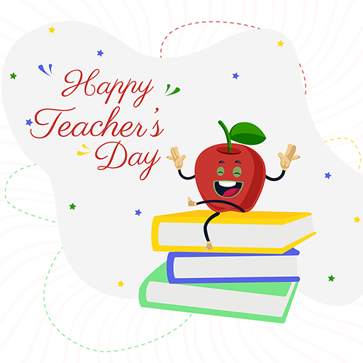 Happy Teacher's Day banner design with books and apple template