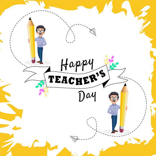 Happy Teacher's Day banner design template teacher is holding a pencil