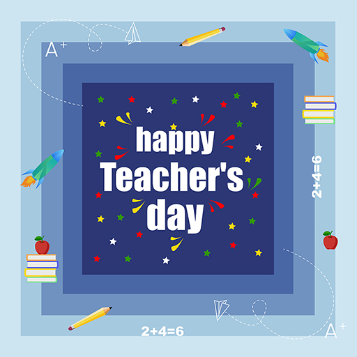 Banner design of Happy Teacher's Day on a blue background