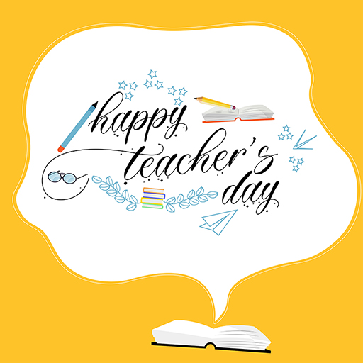 Happy Teacher's Day template banner design on a yellow background