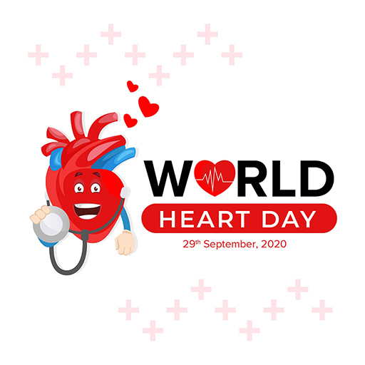 World Heart Day banner design template heart is with a stethoscope