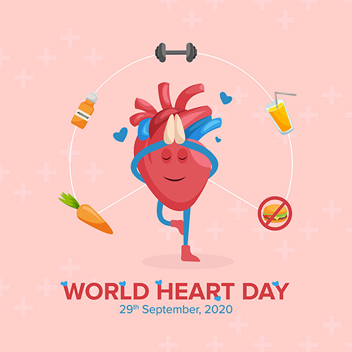 Banner design of World Heart Day with heart is doing yoga on a pink background