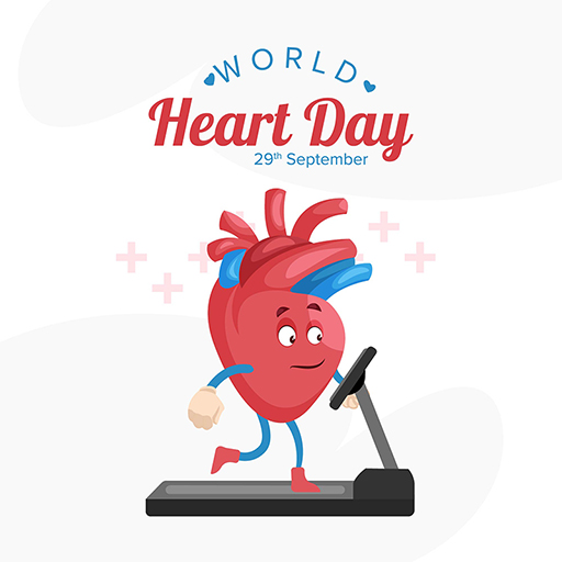 Banner design of World Heart Day with heart is running on a treadmill