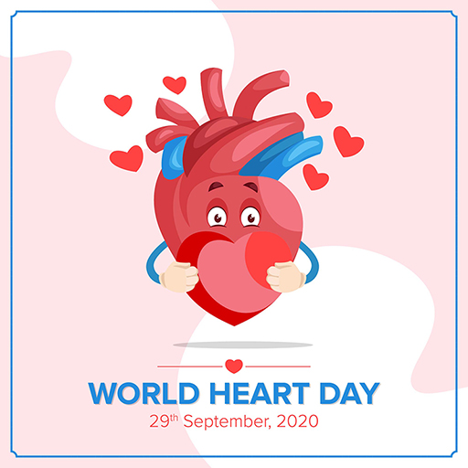 World Heart Day banner design template with heart is holding a heart