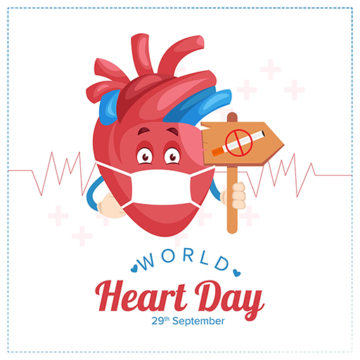 World Heart Day banner design of heart is holding no smoking board