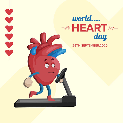 World Heart Day banner design template on a light yellow background