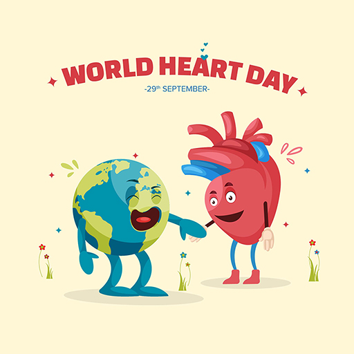 World Heart Day banner design template of a heart is holding the hand of a globe
