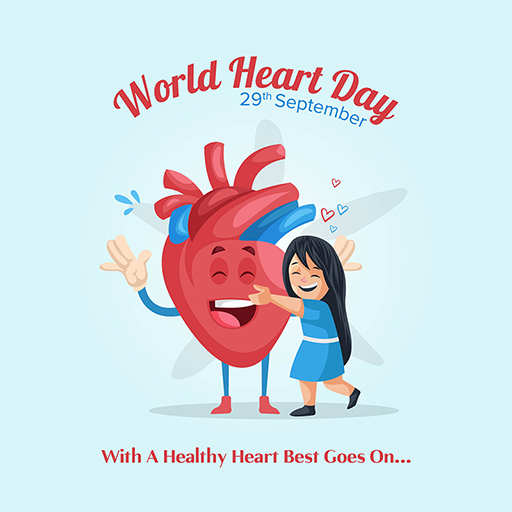 World Heart Day banner design template with the girl is hugging a heart