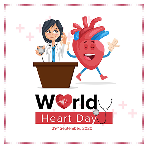 World Heart Day banner design template of a female doctor with a stethoscope