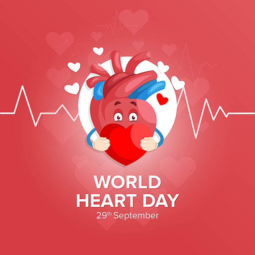World Heart Day banner design template on a red background