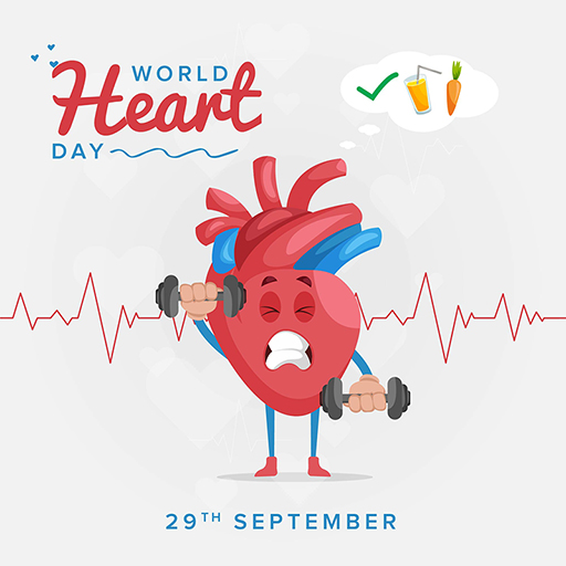 World Heart Day banner design template of a heart is holding dumbbells