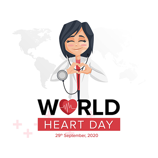 Banner design template of World Heart Day of a girl is with a stethoscope