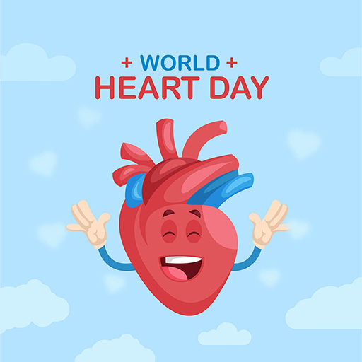 World Heart Day banner design of a happy heart on a blue background