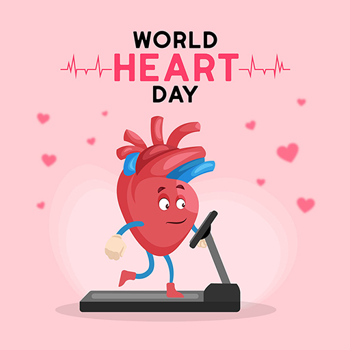 World Heart Day banner design template with a light red background
