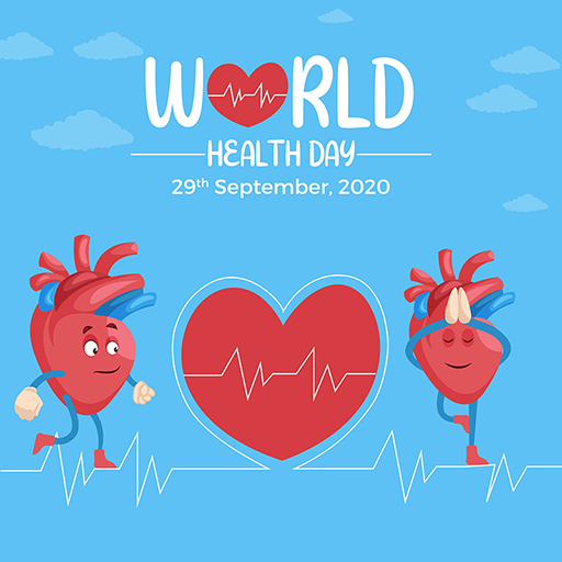 World Heart Day banner design template of a heart is doing exercise