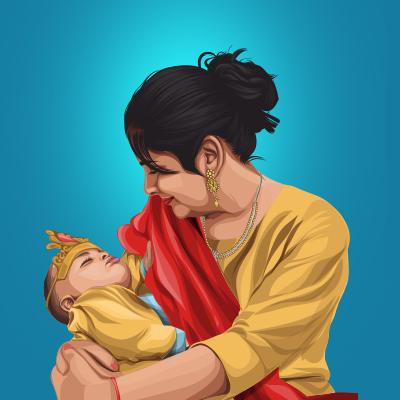 Mother & Son Vector Illustration-Thumbnail-Small