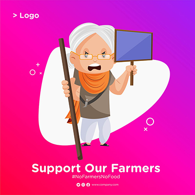 Banner design of Farmer Protest With a Woman Holding Board in Hand small thumbnail