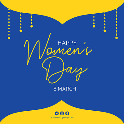 Happy Women's Day banner design template on yellow & blue background