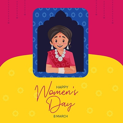 Happy Women's Day banner design template with a happy woman
