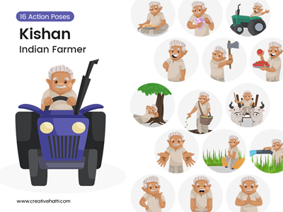 Kishan – Indian Farmer Vector Bundle
