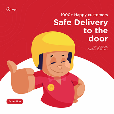 Safe home delivery service banner design template-13 small