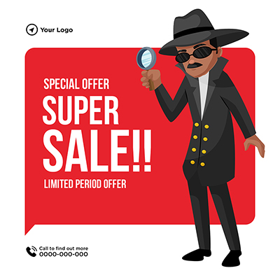Special offer super sale banner man is holding magnify glass 18 small