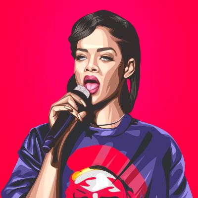 Rihanna Barbadian Singer, Actor Vector Portrait Illustration Small