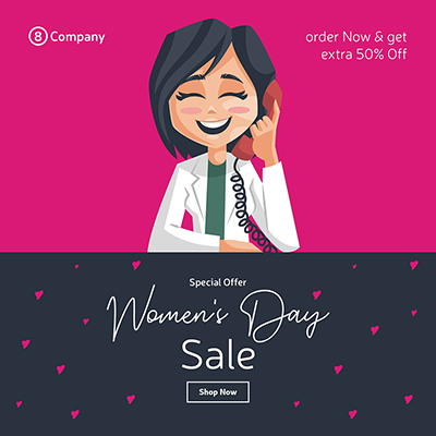 Women's day special sale banner design  woman is talking on mobile phone