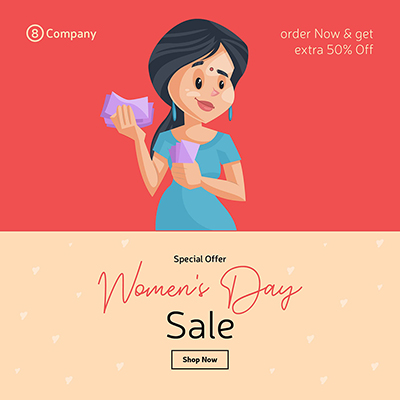 Women's Day special offer sale banner design template woman with money