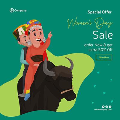 Women's Day sale banner design template couple is riding a yak