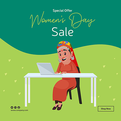 Women's Day banner design template woman is working on a laptop