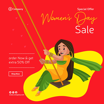 Women's Day banner design template woman is swinging on swing