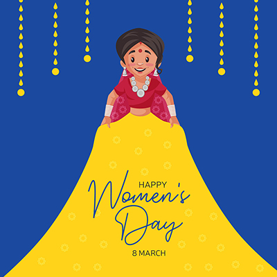 Women's Day banner design template woman is wearing traditional dress