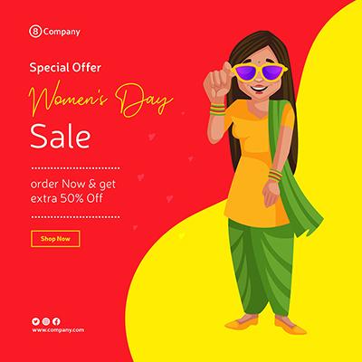 Women's Day sale banner design Punjabi woman wearing sunglasses