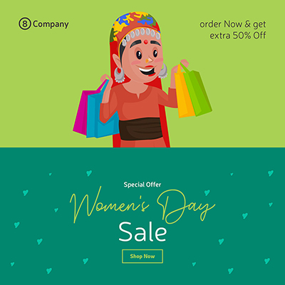 Women's Day sale banner design template a woman holding shopping bags