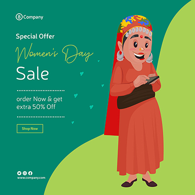 Women's Day sale banner design template woman operating a mobile phone