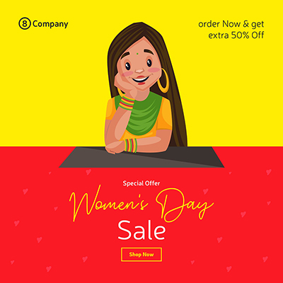 Women's Day special offer banner design template with a woman