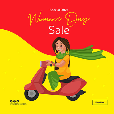 Women's day sale banner design template woman is riding a scooter