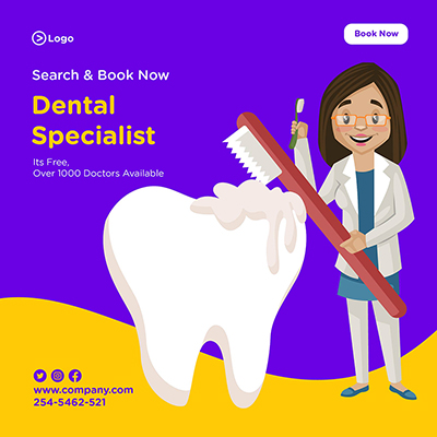 banner design of dental specialist dentist is holding brushes in both hands13 small