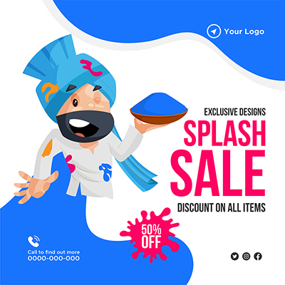 Banner design of exclusive festival splash sale on all items